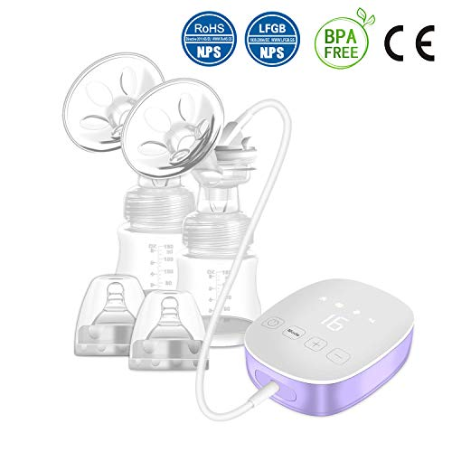 Double Electric Breast Pump, Portable Breast Pump with Adjustable Suction & Pumping Levels for Mom