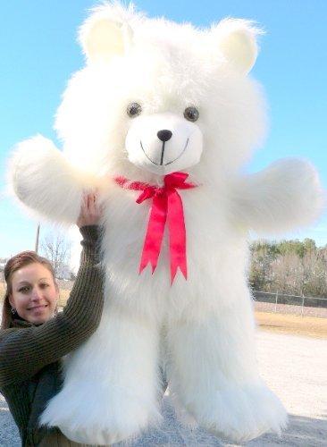 Big Plush Giant White Teddy Bear 42 inch Soft Teddybear Made in USA