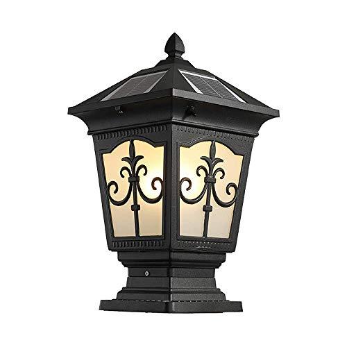 Solar Column Lantern - ZLHLL Retro Black Outdoor Solar Powered Post Light Garden Super Bright Universal E27 Fence Aluminum Glass Lampshade Waterproof IP55 Villa Solar Pillar Lantern Door Column Lamp