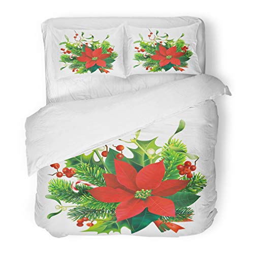 - Emvency Bedding Duvet Cover Set Twin (1 Duvet Cover + 1 Pillowcase) Green Christmas with Fir Mistletoe Holly Branches and Poinsettia Flower White Red Hotel Quality Wrinkle and Stain Resistant