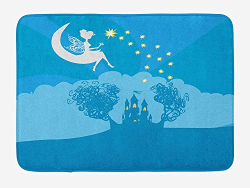 Girls Bath Mat, Magical Fairy Tale Princess Castle with Female Pixie Sitting on Crescent Moon Dreamy, Plush Bathroom Decor Mat with Non Slip Backing, 23.6 W X 15.7 W Inches, Blue White