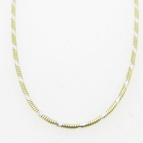 IcedTime-Silver-Necklace-Chains Ladies .925 Italian Sterling Silver Two Tone Snake Link Chain Length - 22 inches Width - 1mm 78saz