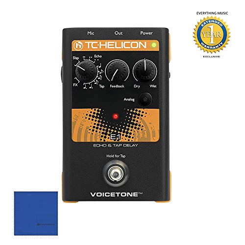 TC-Helicon VoiceTone E1 Vocal Echo and Delay Effect Pedal with Microfiber and 1 Year Everything Music Extended Warranty (Mass Effect Best Moments)
