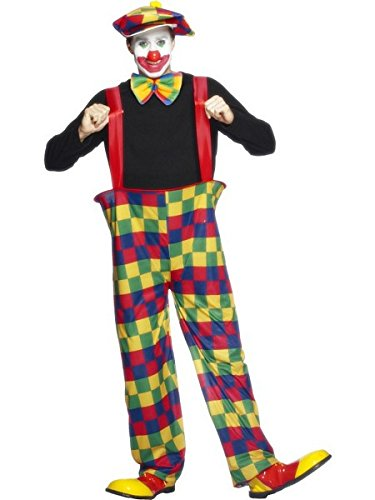Smiffys Men's Hooped Clown Costume, pants, Hat and Bow-Tie, Funny Side, Serious Fun, Size L, -