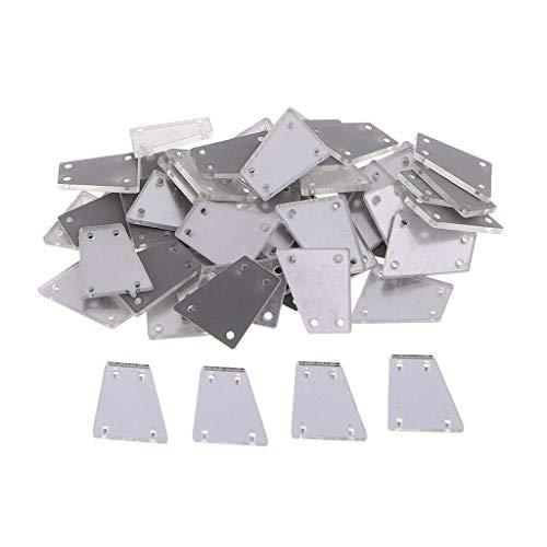 - 50pcs Sew On Crystal Rhinestone Acrylic Mirror Sewing Flatback Beads 17x19mm   Color - White