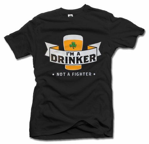 Fighter Im T-shirt Drinker Not - I'M A DRINKER NOT A FIGHTER FUNNY IRISH T-SHIRT 6X Black Men's Tee (6.1oz)