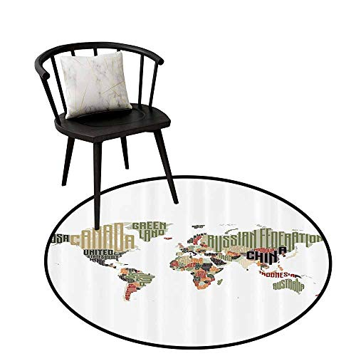 Absorbent Round Rug Elementary Classroom Decor Collection Will not Touch The Floor Directly Russia Brasil Canada China USA Typographic Map Picture Olive Black D35(90cm)
