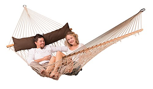 LA SIESTA California Arabica - Weather-Resistant Rope Kingsize Spreader Bar Hammock - King-Sized hammock with spreader bars for 1-2 people - 355 lb weight capacity Weatherproof and UV-resistant; suitable for permanent outdoor use Spreader bar made of shorea wood from responsible forestry (FSC certified) - patio-furniture, patio, hammocks - 41sdg0jncGL -