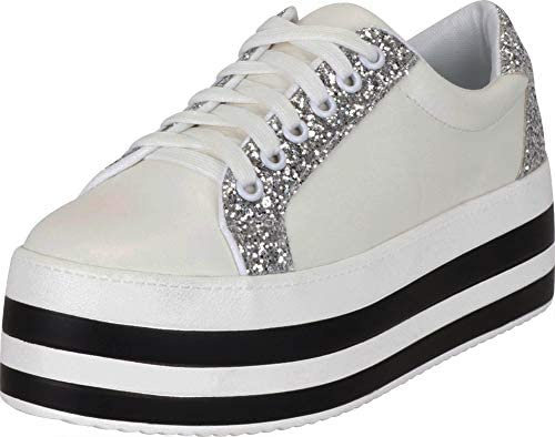 d0dffcaad9d20 Cambridge Select Women's Low Top 90s Glitter Lace-Up Striped ...
