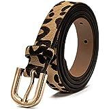 86fdd7bee1 Women  39 s Leopard Print Leather Belt for Pants Dress Jeans Waist Belt with
