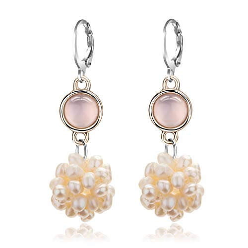 (Kamille Dangle Pearl Earrings For Women - Gold Hoop Earrings For Women, Earrings For girls, Gift For Wedding (pink opal pearls earrings) )