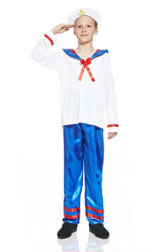 Marines Uniform Costume (Kids Sailor Boy Costume Seaman Uniform Yacht Skipper Shipmate Nautical Dress Up (8-11 years, White, Royal Blue, Red))
