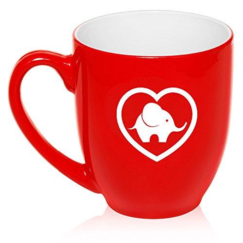 16 oz Large Bistro Mug Ceramic Coffee Tea Glass Cup Heart Love Elephant (Red) ()