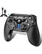 iAmer Manette pour Nintendo Switch, Switch Wireless Bluetooth Gamepad Controller,Manette de Jeu à Fonction Double Vibration/Turbo/Gyroscope (Noir)