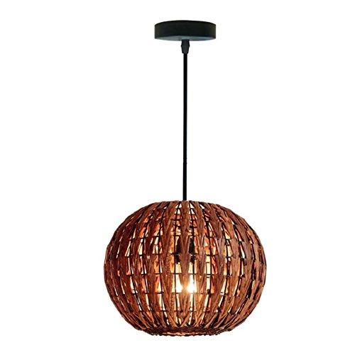 HAIXIANG Tropical Bamboo Chandelier DIY Wicker Rattan Lamp Shades Weave Hanging Light Round