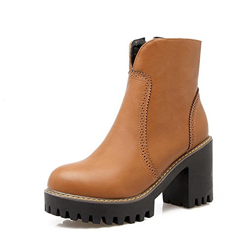 Round Toe Brown Lower Boots Zipper Women's Heels AgooLar High Solid Pile xqa14wU08