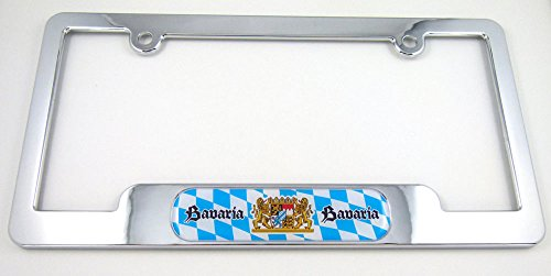 bavaria-german-chrome-plated-abs-license-plate-frame-dome-emblem-bayernfree-caps