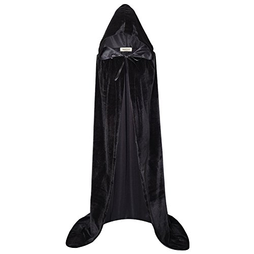 MMTTAO Hooded Cloak Velvet Robe Cape for Women Men Fancy Dress Halloween Christmas Masquerade Cosplay Role Play Costumes Party Cape - S