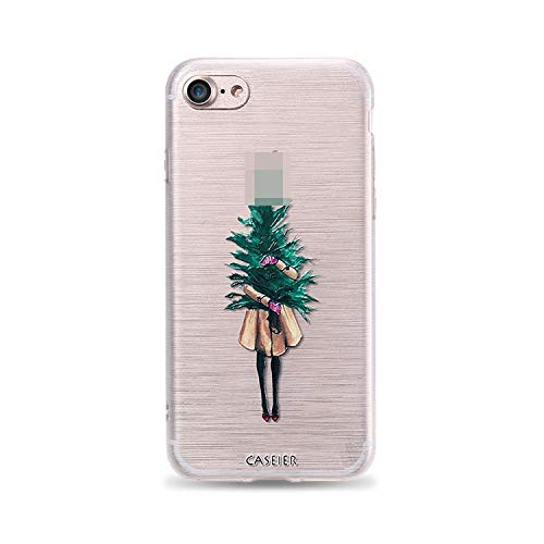 Christmas Style Case for iPhone 6 6s 7 8 Plus Silicone 3D Cases for iPhone X 10 5 5s SE Cover Soft Conque Shell,Girl Holding Tree,for iPhone 8