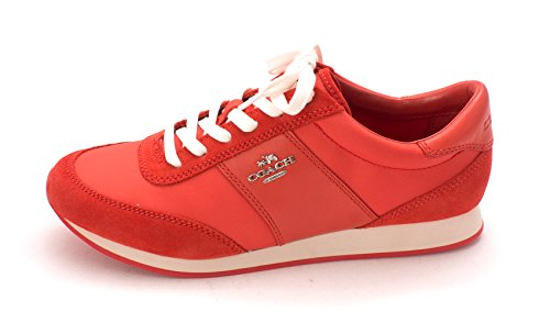 Coach Womens Raylen Suede Low Top Lace up Fashion Sneakers, Red, Size 5.0