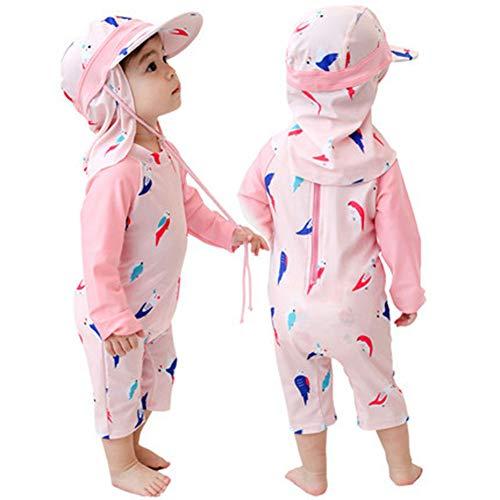Digirlsor Toddler Baby Boys One Piece Swimsuit Kids Rash Guard Zipper Surfing Bathing Suit Swimwear with Hat UPF 50+