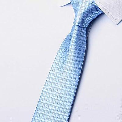 GuanBen Corbata de Hombre, 8 cm, poliéster, Azul Cielo, ondulación ...