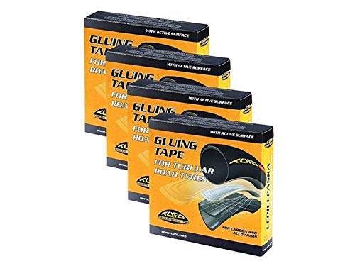 Tufo Tubular Tire Gluing Tape, Designed for Road CX 700c Tires - 4 Pack w/ Decal