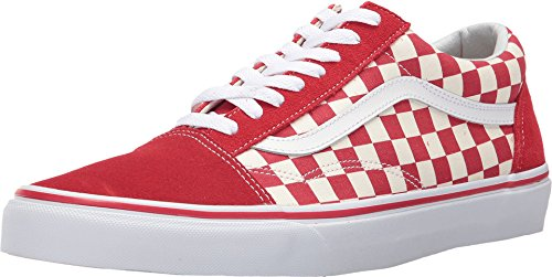 Vans Unisex Old Skool (Primary Check) Primary Check/Racing Red/White Skate Shoe 9 Men US / 10.5 Women US
