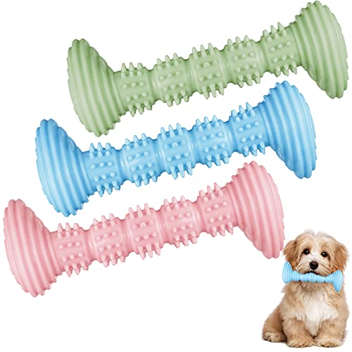 3 Pieces Dog Toys Puppy Teething Toy Dog Rubber Chew Toy Flexible Pet Toothbrush Pick Up Sticks Toy for Small Medium Dogs Puppies Teeth Cleaning and Relieving Itching(Pink, Blue, Green)