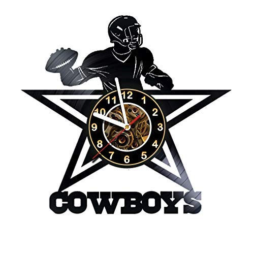 Dallas Cowboys - Football Team - Vinyl Record Wall Clock Artwork gift idea for birthday, christmas, women, men, friends, girlfriend boyfriend and teens - living kids room nursery - Best gift idea