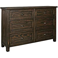 Ashley Trudell 6 Drawer Dresser in Dark Brown