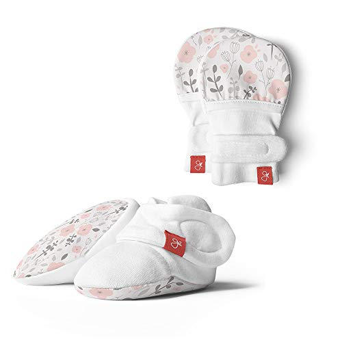 (Baby Booties & Mittens Bundle, Adjustable Soft & Secure (0-3 Months, Enchanted Garden) )