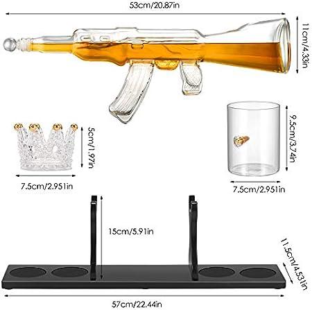 GJCrafts Juego de decantador de Pistola de Whisky con 4 Vasos de Whisky Bullet Decantador de Whisky de Pistola de Rifle Decantador de Whisky con Juego de Piedras de Hielo para Vino, Brandy, Bourbon