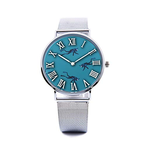 - Unisex Fashion Watch Diving Extreme Sports Sea Pet Print Dial Quartz Stainless Steel Wrist Watch with Steel Strap Watchband for Men Women 40mm Casual Watch
