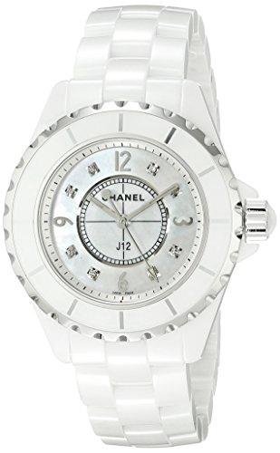 CHANEL WOMEN'S J12 33MM WHITE CERAMIC BAND & CASE QUARTZ MOP DIAL WATCH H2422