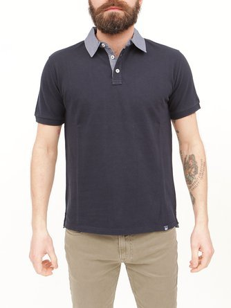 Polo Manica Fit Corta Wopol0461 Regular Camicia Denim Piquet Contrasto Collo Woolrich Blu In U5qCw