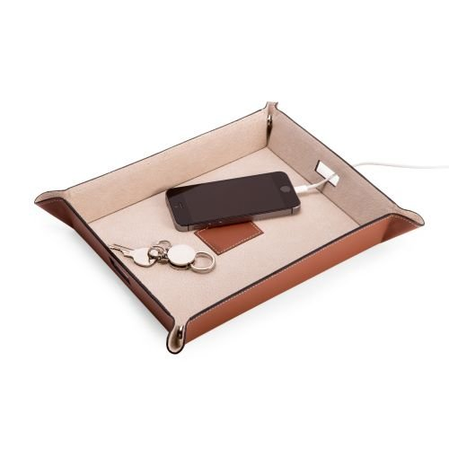 Bey Berk Large Snap Leather Valet and Charging Station with Pig Skin Leather (Skin Station)