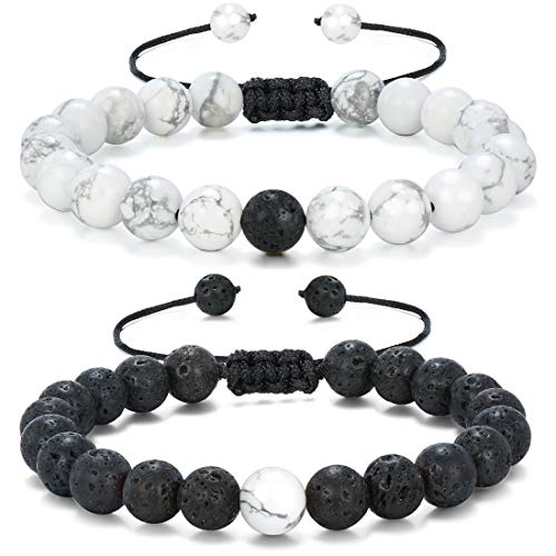 MengPa Mens Lava Stone Rock Bracelet for Women Aromatherapy Anxiety Essential Oil Diffuser Bead Couples Bangle (Rope-Lava&White) G4376 (Rocks Mom)