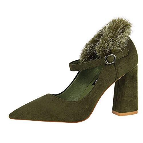 Haut Agoolar Vert Chaussures Tire Couleur Légeres Talon Femme À Unie rqxwpFrtS