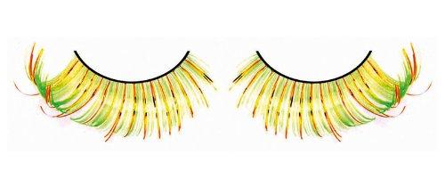 Yellow Feather Light (Baci Magic Feather Eyelashes Style No.538, Adhesive Included,Yellow/Orange/Light Green)