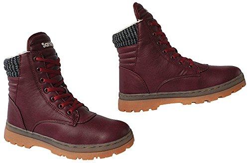 Winter Damen Stiefel Schuhe Boots gefüttert Stiefelette gr.36 - 41 art.nr. SD91 wine