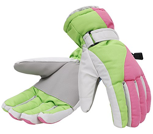 Simplicity Women Thinsulate Insulated Waterproof Snowboard/Ski Gloves, M, Pink Green