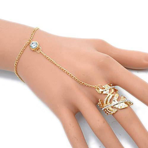 - Katekaewshop1430 Fashion Glitter Rhinestone Retro Hand Bracelet Slave Chain Link Finger Ring Gold Gift