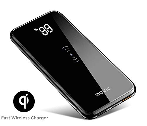 (Movic Wireless Portable Charger, 10000mAh Wireless Qi Charger Power Bank with 2 USB Output for Charging Samsung Galaxy S7 S8 S9, Note, iPhone X/XS/XR (Gloss Black))