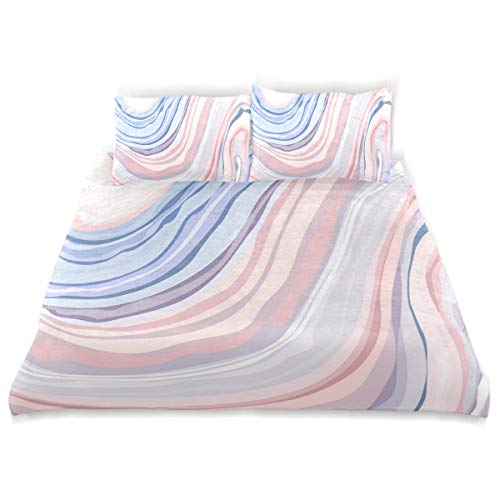 Rusked Darrener Multicolored Marble Pattern Teens Kids Bedding 3 Pieces Home Comforter Cover Sets Twin Size Cotton Bedding Sets Children Bed
