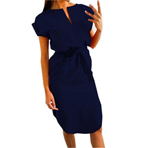 aa120ccd91f0 Janly Mini Gürtel Kleider, Frau Casual Uni V-Ausschnitt Kleid für Damen  Abend Party