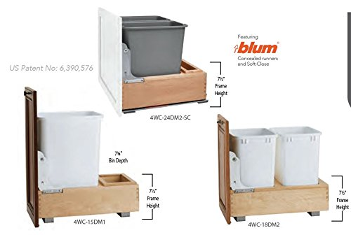 4WC SERIES Bottom Mount Wood Waste Container (Individual Pack) Single 35 qt. Container, Door Mount