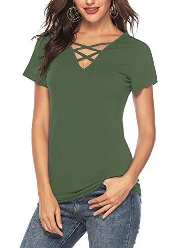 Criss Top Knit Cross - Amoretu Women Summer Short Sleeve Solid Color Tops Criss Cross V Neck T Shirt(Army Green,XL)
