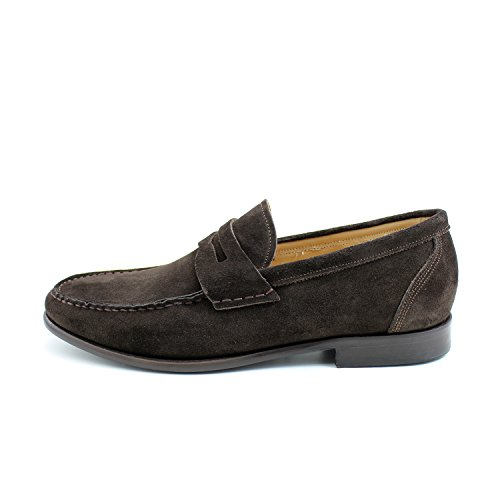 Giorgio Rea Italian Handmade Suede Brown Penny Loafers Men's Shoes Leather Mocassins (EUR 41 - UK 7 - US 8, Brown) (Italian Handmade Leather Loafer Shoes)