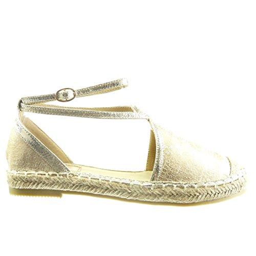 2 Angkorly Donna Straps Cord Espadrillas Moda Open Sandali Block Scarpe Multi Cm Snakeskin Oro Heel ABA7q